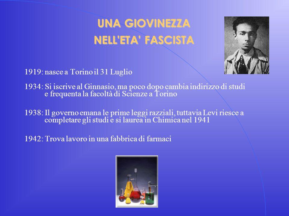 UNA GIOVINEZZA NELL'ETA' FASCISTA 1919: nasce a Torino il 31 Luglio 1934: Si iscrive al Ginnasio, ma poco dopo cambia indirizzo di studi e frequenta l