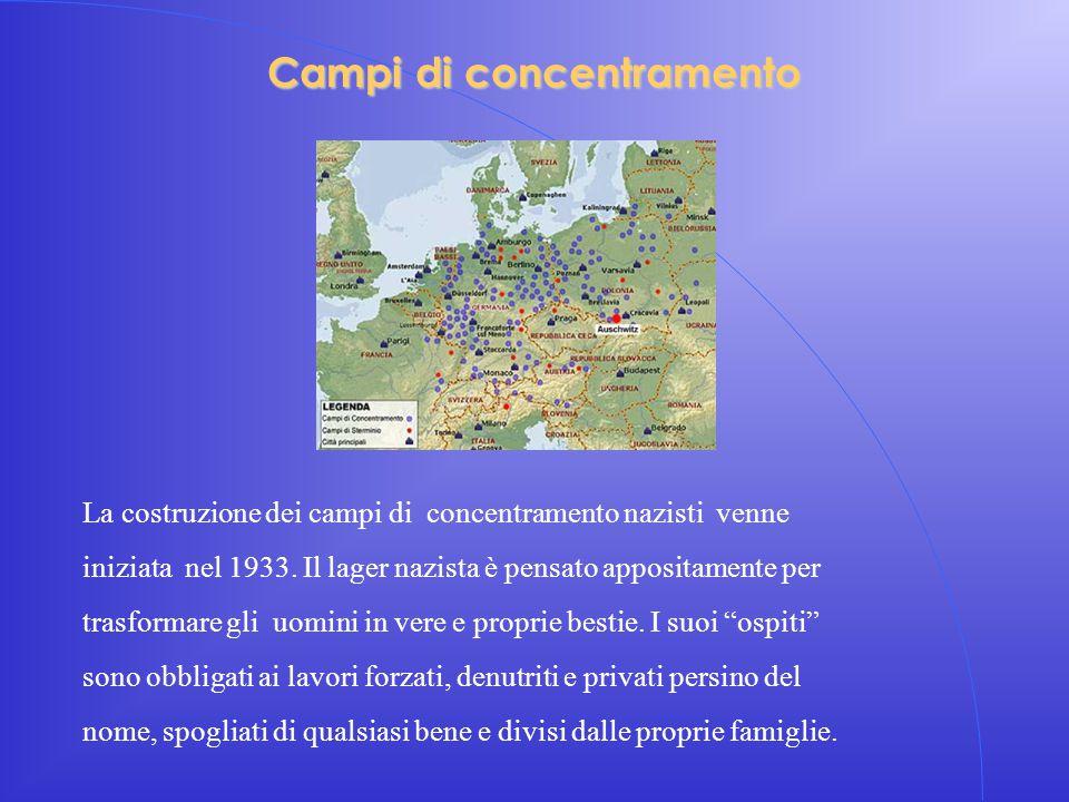 Campi di concentramento La costruzione dei campi di concentramento nazisti venne iniziata nel 1933. Il lager nazista è pensato appositamente per trasf