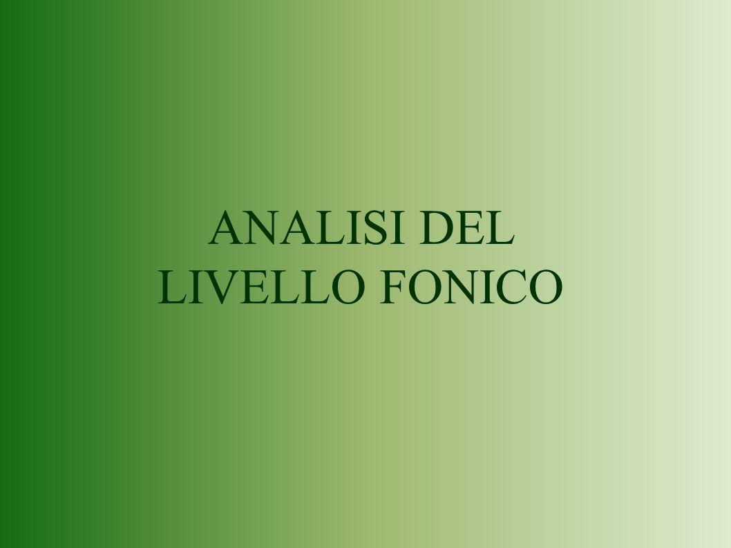 ANALISI DEL LIVELLO FONICO