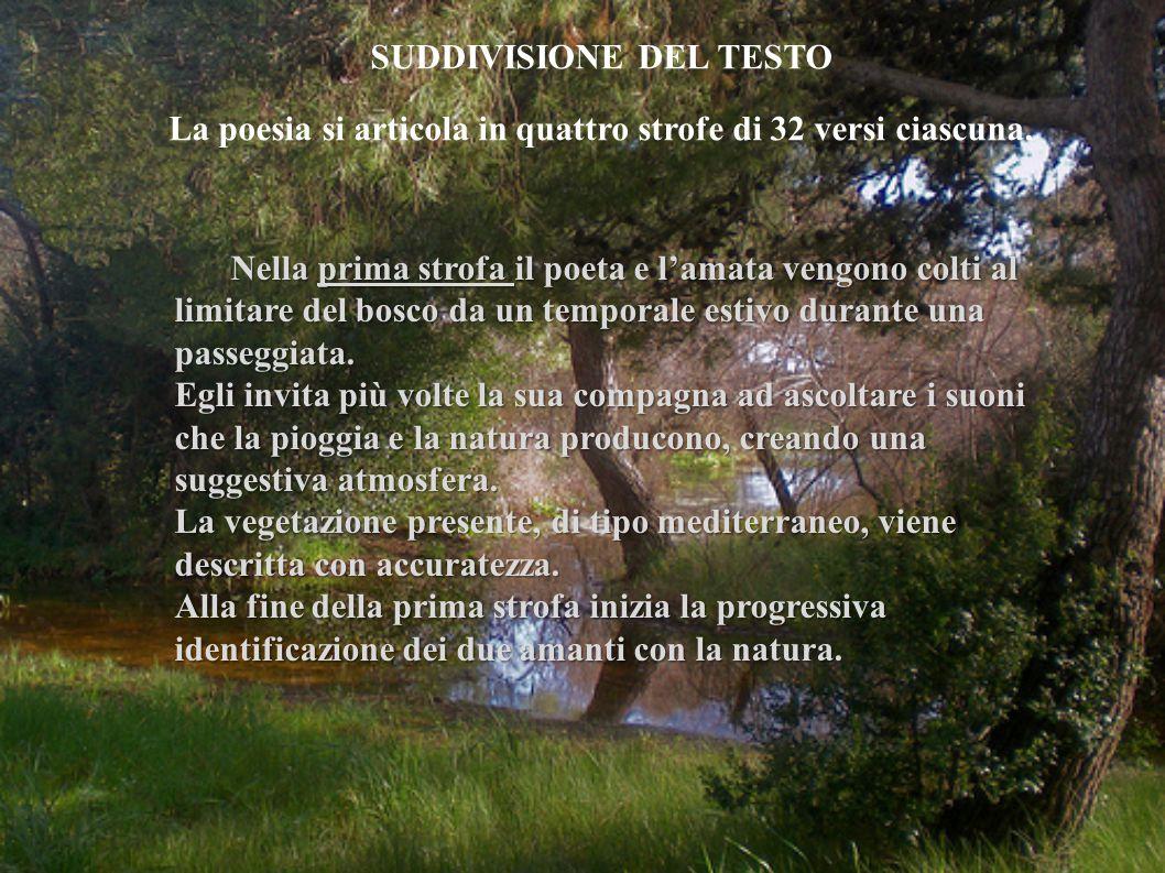 Nella prima strofa il poeta e l'amata vengono colti al limitare del bosco da un temporale estivo durante una passeggiata.
