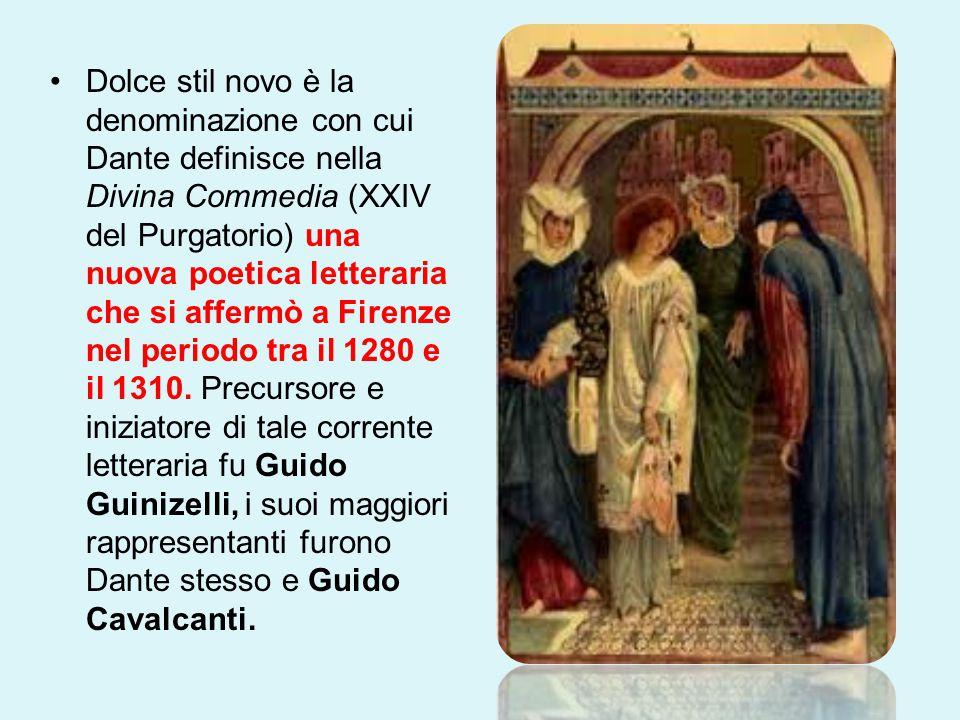 Dolce stil novo è la denominazione con cui Dante definisce nella Divina Commedia (XXIV del Purgatorio) una nuova poetica letteraria che si affermò a F