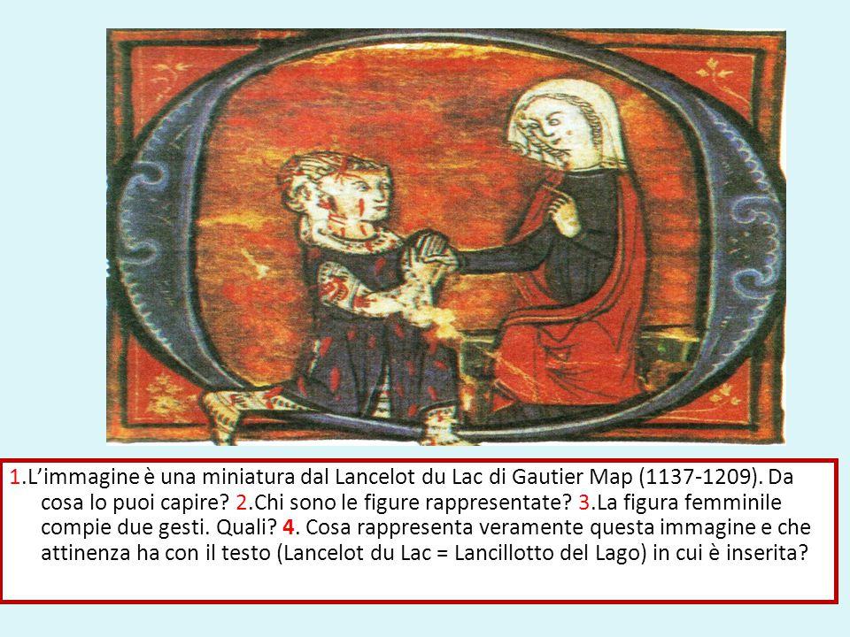 1.L'immagine è una miniatura dal Lancelot du Lac di Gautier Map (1137-1209). Da cosa lo puoi capire? 2.Chi sono le figure rappresentate? 3.La figura f