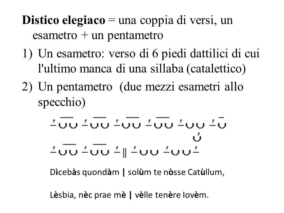Distico elegiaco = una coppia di versi, un esametro + un pentametro 1)Un esametro: verso di 6 piedi dattilici di cui l ultimo manca di una sillaba (catalettico) 2)Un pentametro (due mezzi esametri allo specchio) Dìcebàs quondàm | solùm te nòsse Catùllum, Lèsbia, nèc prae mè | vèlle tenère Iovèm.
