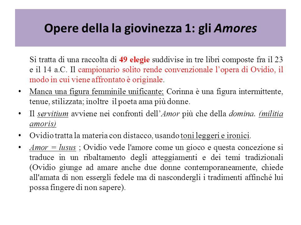 Opere della la giovinezza 1: gli Amores Si tratta di una raccolta di 49 elegie suddivise in tre libri composte fra il 23 e il 14 a.C.