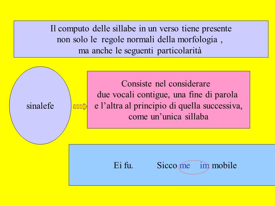 sinalefe Il computo delle sillabe in un verso tiene presente non solo le regole normali della morfologia, ma anche le seguenti particolarità Consiste