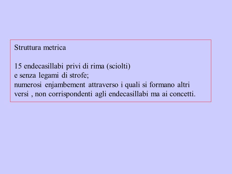Struttura metrica 15 endecasillabi privi di rima (sciolti) e senza legami di strofe; numerosi enjambement attraverso i quali si formano altri versi, n