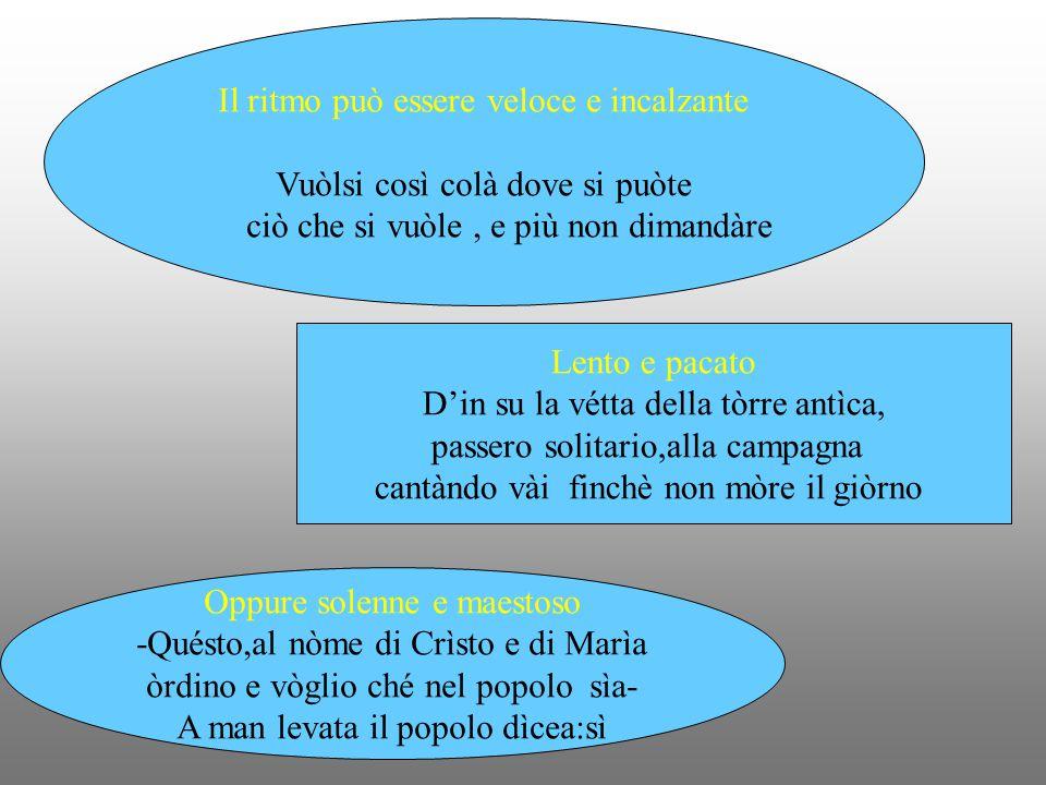 I versi della tradizione poetica italiana sono costituiti da un numero predeterminato di sillabe, dal quale prendono il nome 2 sillabe S'al/za binario 3 sillabe ti /scher/ni ternario 4 sillabe da/mi/gel/la quaternario 5 sillabe nin/fa gen/ti/le quinario 6 sillabe Dol/ci /miei /so/spi/ri senario 7 sillabe da /vo/lar/ su/ le/ nu/bi settenario 8 sillabe Teo/do/ri/co/ di/ Ve/ro/na ottonario 9 sillabe Na/scon/di/ le/ co/se/ lon/ta/ne novenario 10 sillabe Sof/fer/ma/ti/ sul/l'a/ri/da/ spon/da decasillabo 11 sillabe Per/ me/ si/ va/ ne/ la/ cit/tà/ do/len/te endecasillabo