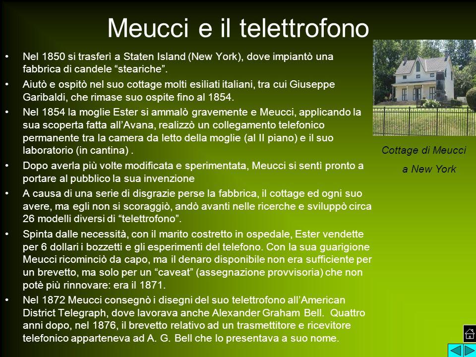"""Meucci e il telettrofono Nel 1850 si trasferì a Staten Island (New York), dove impiantò una fabbrica di candele """"steariche"""". Aiutò e ospitò nel suo co"""