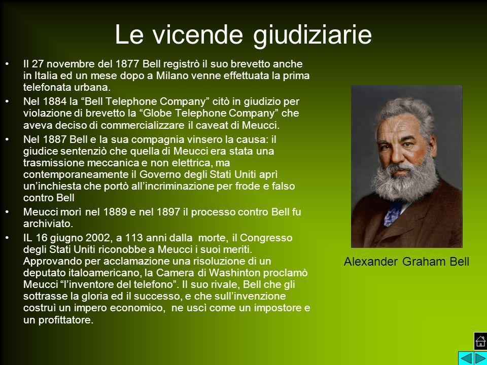 Le vicende giudiziarie Il 27 novembre del 1877 Bell registrò il suo brevetto anche in Italia ed un mese dopo a Milano venne effettuata la prima telefonata urbana.