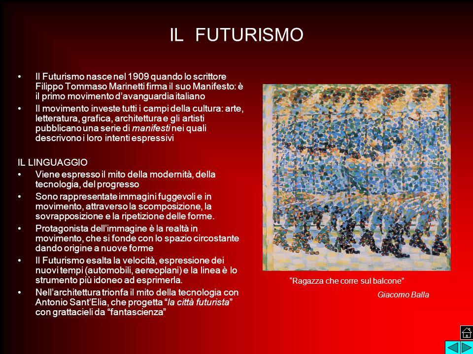IL FUTURISMO Il Futurismo nasce nel 1909 quando lo scrittore Filippo Tommaso Marinetti firma il suo Manifesto: è il primo movimento d'avanguardia italiano Il movimento investe tutti i campi della cultura: arte, letteratura, grafica, architettura e gli artisti pubblicano una serie di manifesti nei quali descrivono i loro intenti espressivi IL LINGUAGGIO Viene espresso il mito della modernità, della tecnologia, del progresso Sono rappresentate immagini fuggevoli e in movimento, attraverso la scomposizione, la sovrapposizione e la ripetizione delle forme.