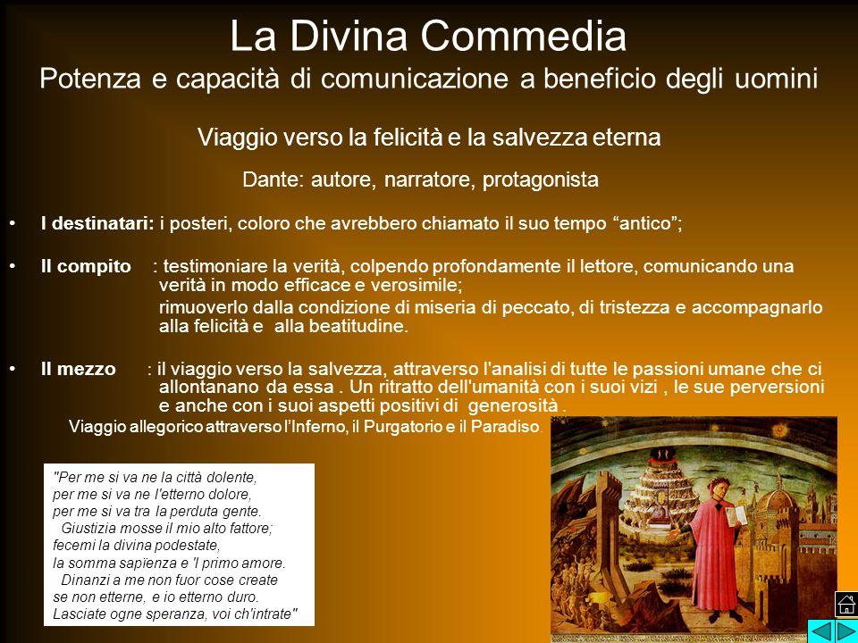 La Divina Commedia Potenza e capacità di comunicazione a beneficio degli uomini Viaggio verso la felicità e la salvezza eterna Dante: autore, narrator