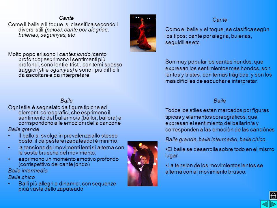 Cante Come il baile e il toque, si classifica secondo i diversi stili (palos): cante por alegrias, bulerias, seguiriyas, etc Molto popolari sono i cantes jondo (canto profondo):esprimono i sentimenti più profondi, sono lenti e tristi, con temi spesso traggici (stile sguiriyas) e sono i più difficili da ascoltare e da interpretare Baile Ogni stile è segnalato da figure tipiche ed elementi coreografici, che esprimono il sentimento del ballerino/a (bailor, bailora) e corrispondono alle emozioni della canzone Baile grande Il ballo si svolge in prevalenza allo stesso posto, il calpestare (zapateado) è minimo; la tensione dei movimenti lenti si alterna con le soste brusche del movimento; esprimono un momento emotivo profondo (corrispettivo del cante jondo) Baile intermedio Baile chico Balli più allegri e dinamici, con sequenze piùà vaste dello zapateado Cante Como el baile y el toque, se clasifica segùn los tìpos: cante por alegria, bulerias, seguidillas etc.