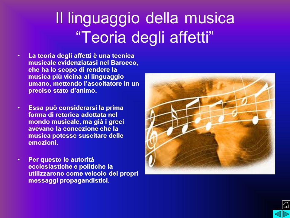 Il linguaggio della musica Teoria degli affetti La teoria degli affetti è una tecnica musicale evidenziatasi nel Barocco, che ha lo scopo di rendere la musica più vicina al linguaggio umano, mettendo l'ascoltatore in un preciso stato d'animo.