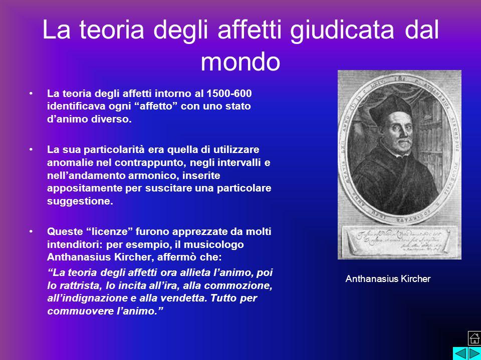 La teoria degli affetti giudicata dal mondo La teoria degli affetti intorno al 1500-600 identificava ogni affetto con uno stato d'animo diverso.