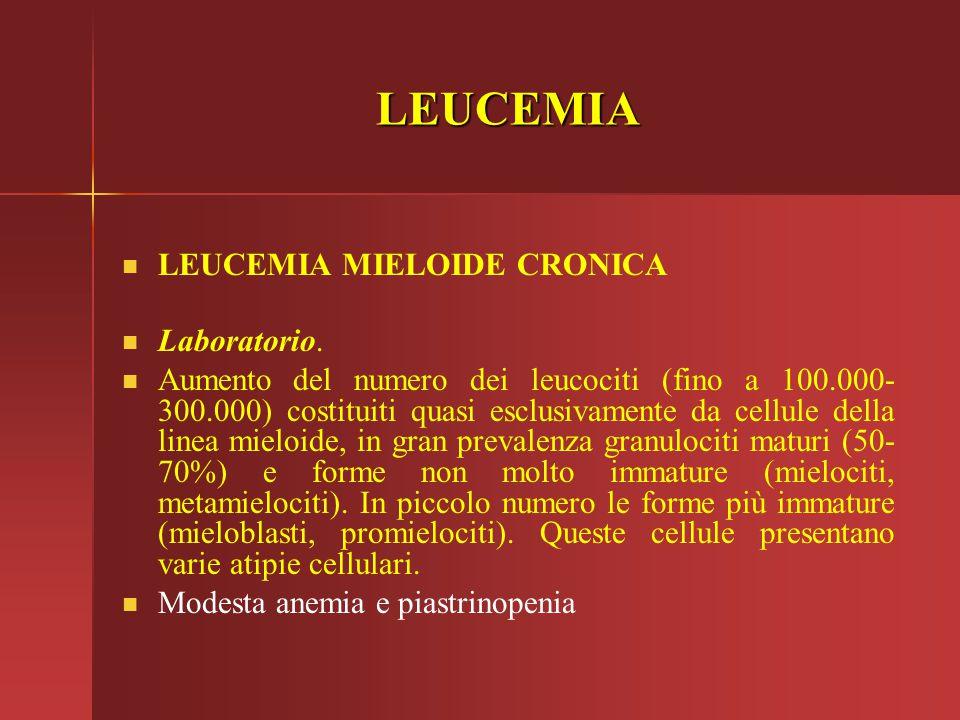 LEUCEMIA LEUCEMIA MIELOIDE CRONICA Laboratorio. Aumento del numero dei leucociti (fino a 100.000- 300.000) costituiti quasi esclusivamente da cellule