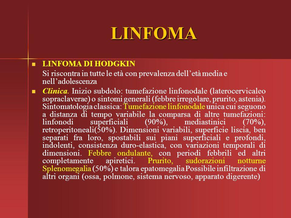 LINFOMA LINFOMA DI HODGKIN Si riscontra in tutte le età con prevalenza dell'età media e nell'adolescenza Clinica. Inizio subdolo: tumefazione linfonod