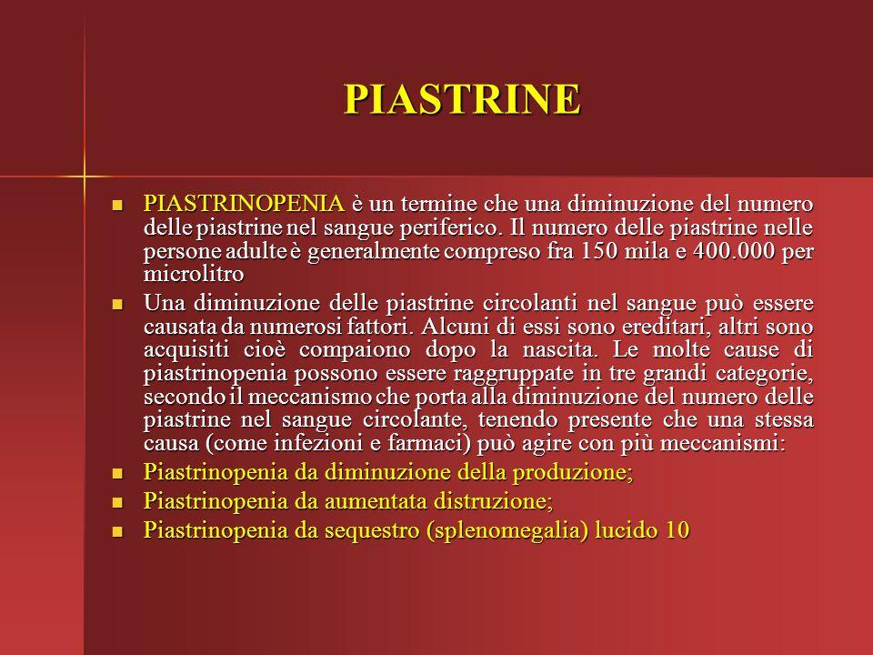 PIASTRINE PIASTRINOPENIA è un termine che una diminuzione del numero delle piastrine nel sangue periferico. Il numero delle piastrine nelle persone ad