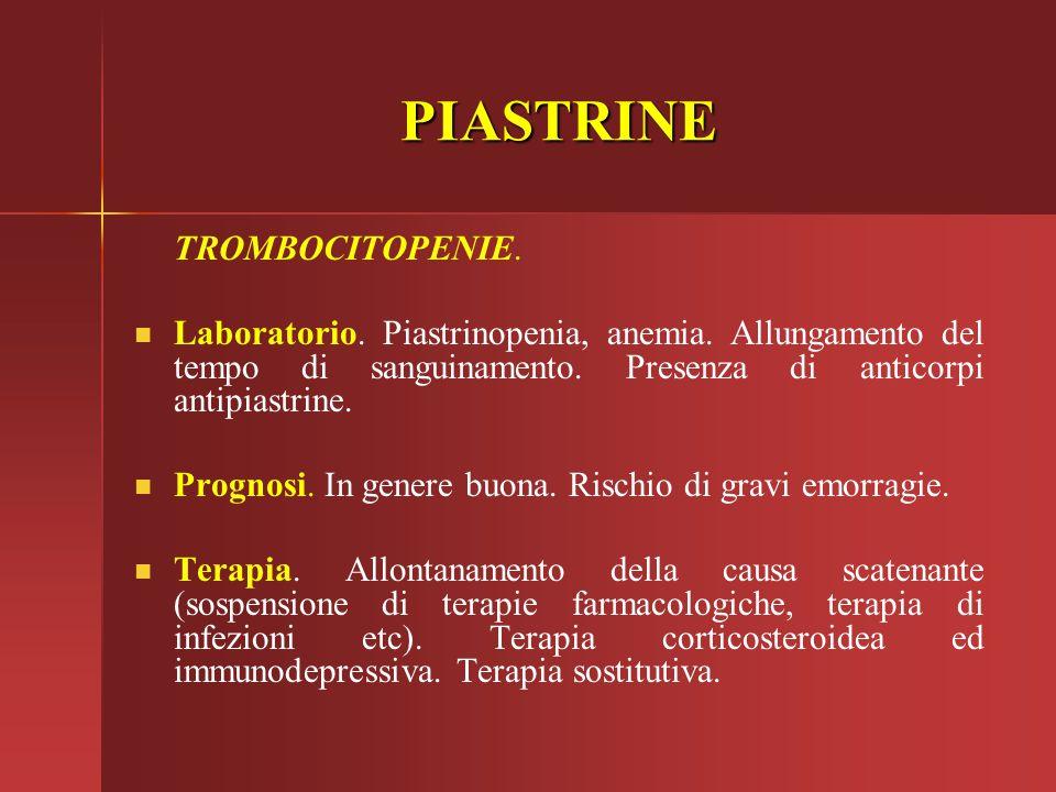 PIASTRINE TROMBOCITOPENIE. Laboratorio. Piastrinopenia, anemia. Allungamento del tempo di sanguinamento. Presenza di anticorpi antipiastrine. Prognosi