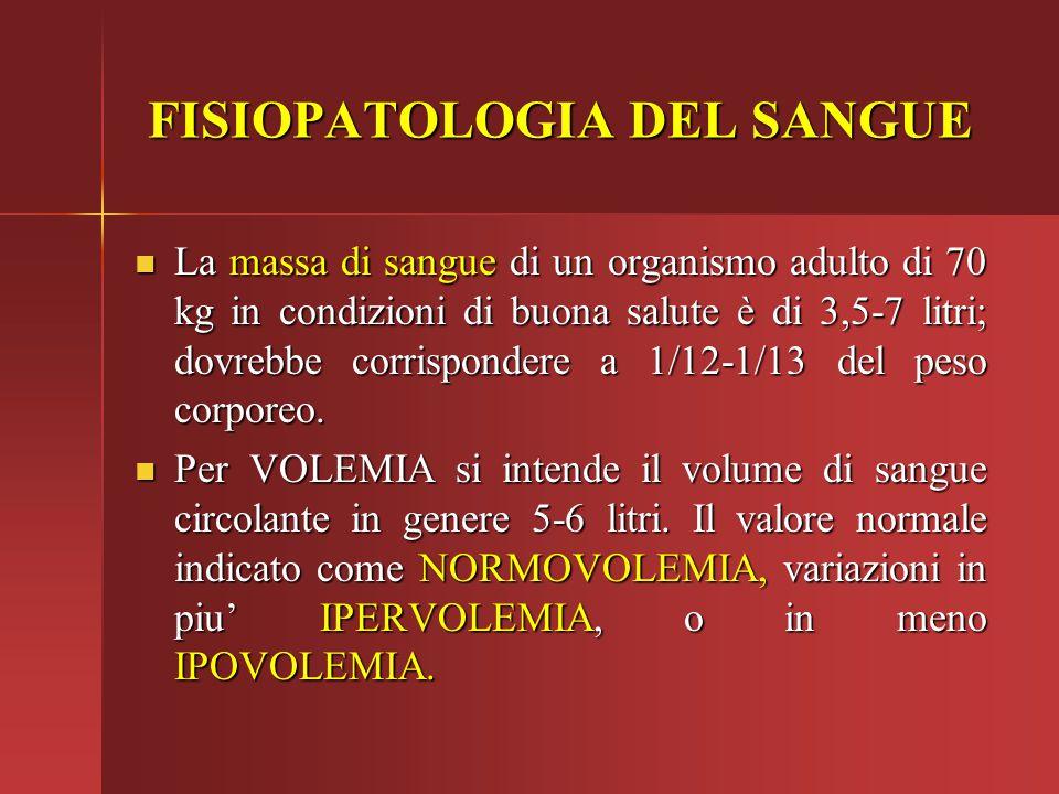 FISIOPATOLOGIA DEL SANGUE La massa di sangue di un organismo adulto di 70 kg in condizioni di buona salute è di 3,5-7 litri; dovrebbe corrispondere a