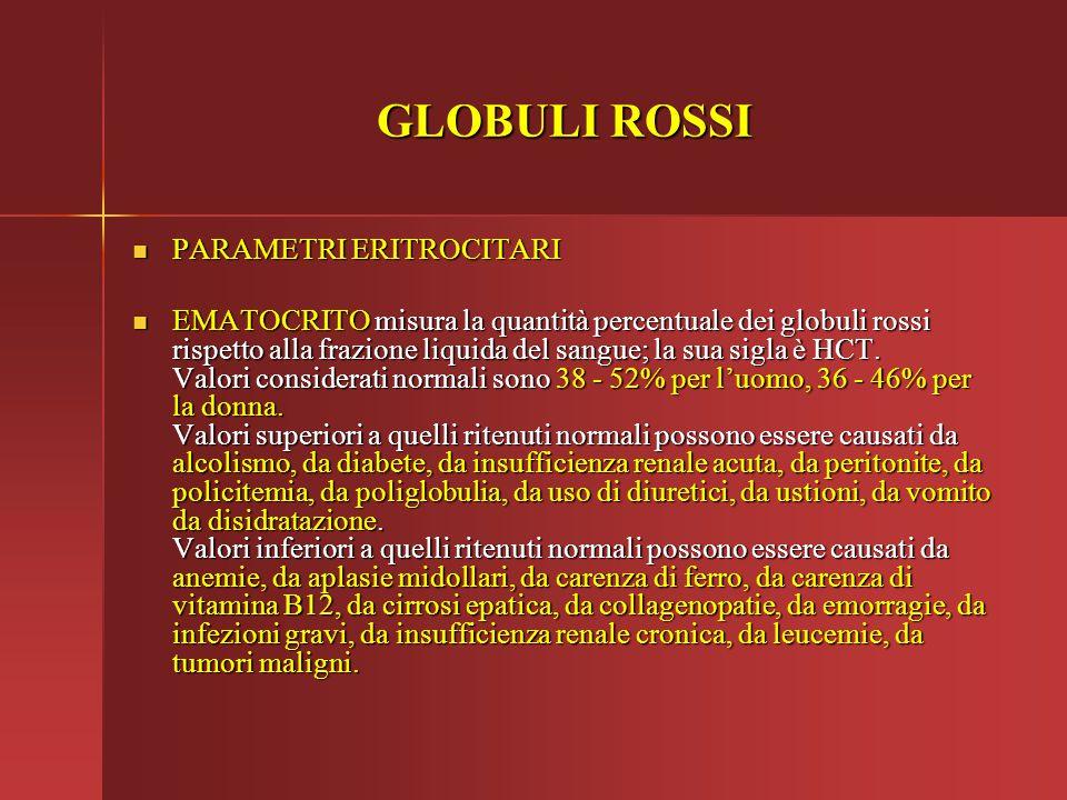 GLOBULI ROSSI PARAMETRI ERITROCITARI PARAMETRI ERITROCITARI EMATOCRITO misura la quantità percentuale dei globuli rossi rispetto alla frazione liquida
