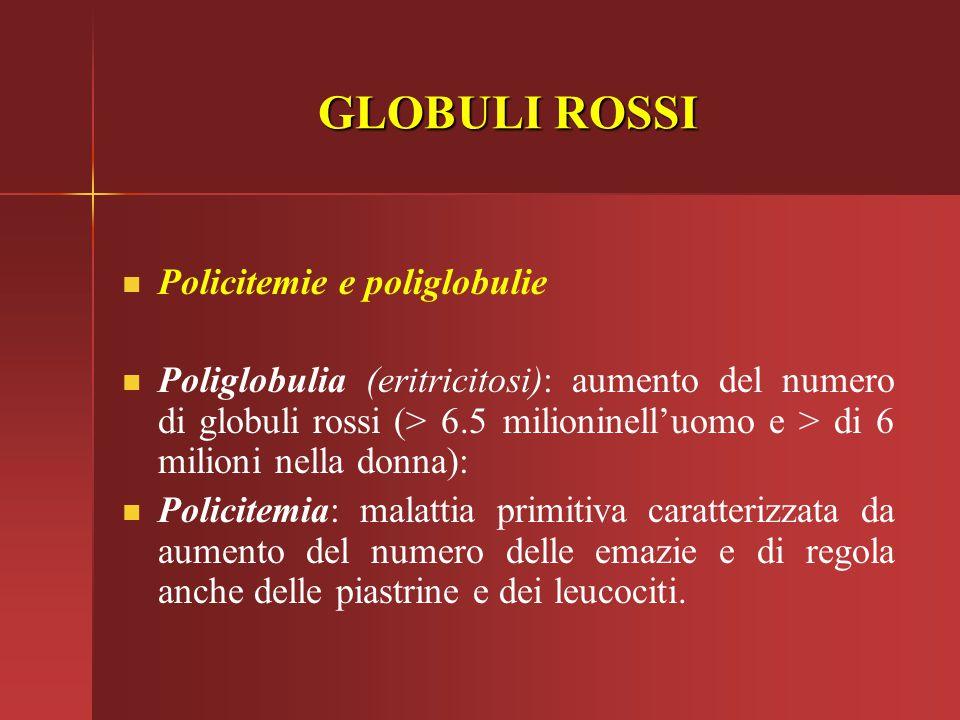 GLOBULI ROSSI Policitemie e poliglobulie Poliglobulia (eritricitosi): aumento del numero di globuli rossi (> 6.5 milioninell'uomo e > di 6 milioni nel
