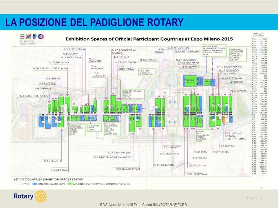 TITLE | 15 PDG Carlo Michelotti Exec.Committee ROTARY@EXPO LA POSIZIONE DEL PADIGLIONE ROTARY