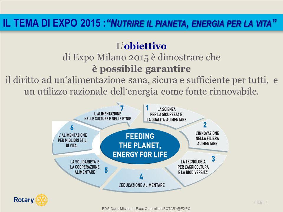 TITLE | 4 L'obiettivo di Expo Milano 2015 è dimostrare che è possibile garantire il diritto ad un'alimentazione sana, sicura e sufficiente per tutti, e un utilizzo razionale dell'energia come fonte rinnovabile.