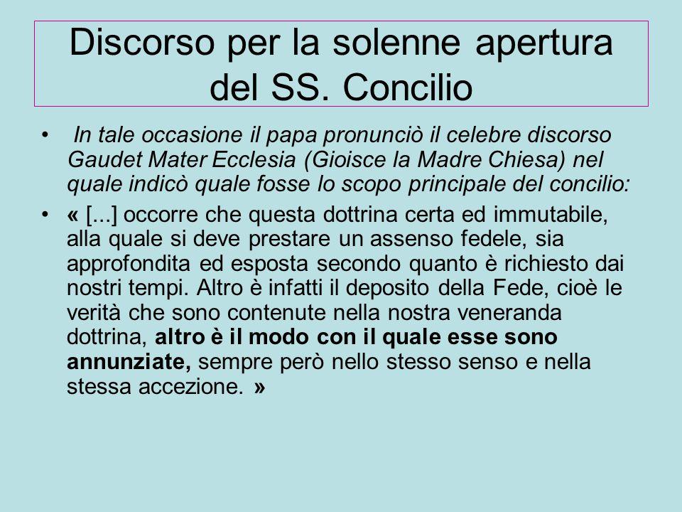 Discorso per la solenne apertura del SS. Concilio In tale occasione il papa pronunciò il celebre discorso Gaudet Mater Ecclesia (Gioisce la Madre Chie