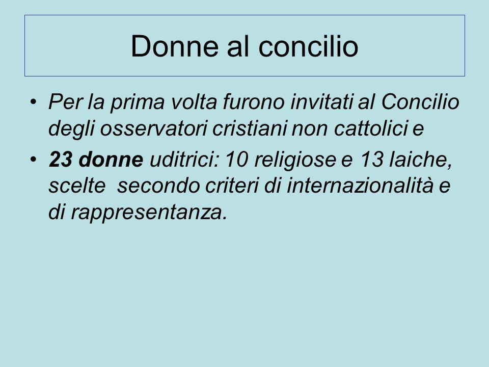 Donne al concilio Per la prima volta furono invitati al Concilio degli osservatori cristiani non cattolici e 23 donne uditrici: 10 religiose e 13 laic