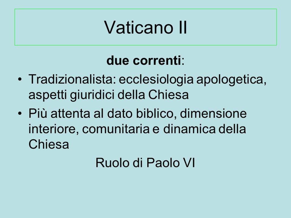 Vaticano II due correnti: Tradizionalista: ecclesiologia apologetica, aspetti giuridici della Chiesa Più attenta al dato biblico, dimensione interiore