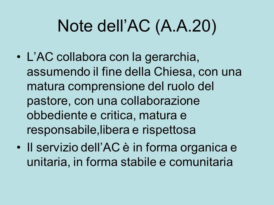 Note dell'AC (A.A.20) L'AC collabora con la gerarchia, assumendo il fine della Chiesa, con una matura comprensione del ruolo del pastore, con una coll