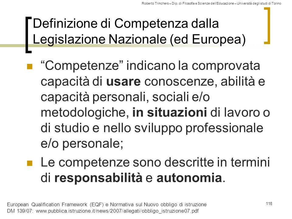 Roberto Trinchero – Dip. di Filosofia e Scienze dell'Educazione – Università degli studi di Torino 118 Definizione di Competenza dalla Legislazione Na