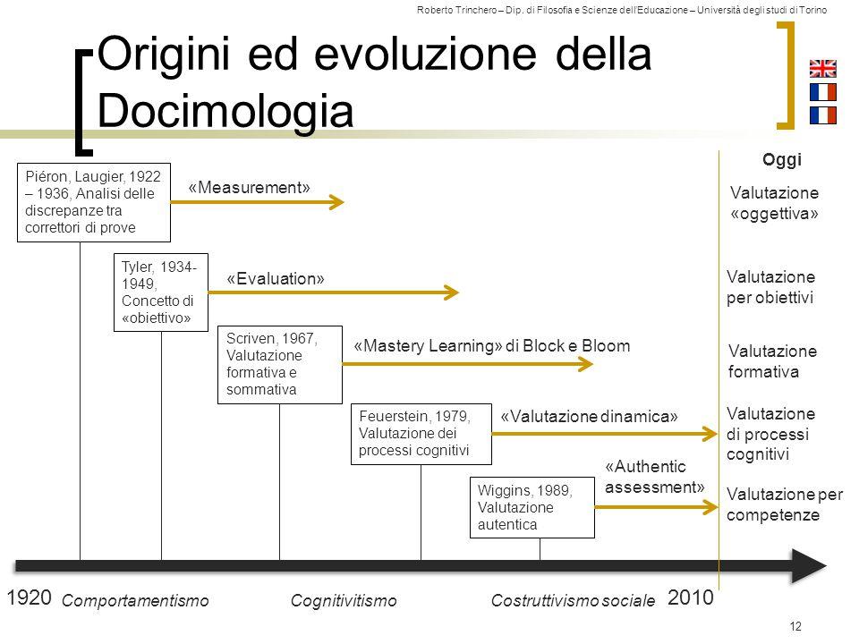 Roberto Trinchero – Dip. di Filosofia e Scienze dell'Educazione – Università degli studi di Torino Origini ed evoluzione della Docimologia 12 19202010