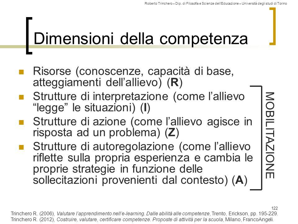 Roberto Trinchero – Dip. di Filosofia e Scienze dell'Educazione – Università degli studi di Torino 122 Dimensioni della competenza Risorse (conoscenze