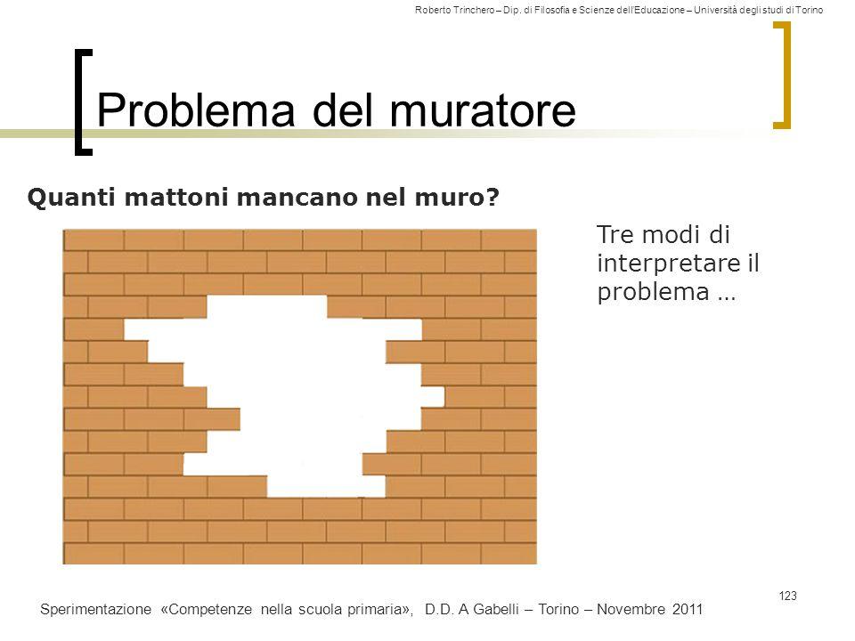 Roberto Trinchero – Dip. di Filosofia e Scienze dell'Educazione – Università degli studi di Torino Problema del muratore 123 Quanti mattoni mancano ne