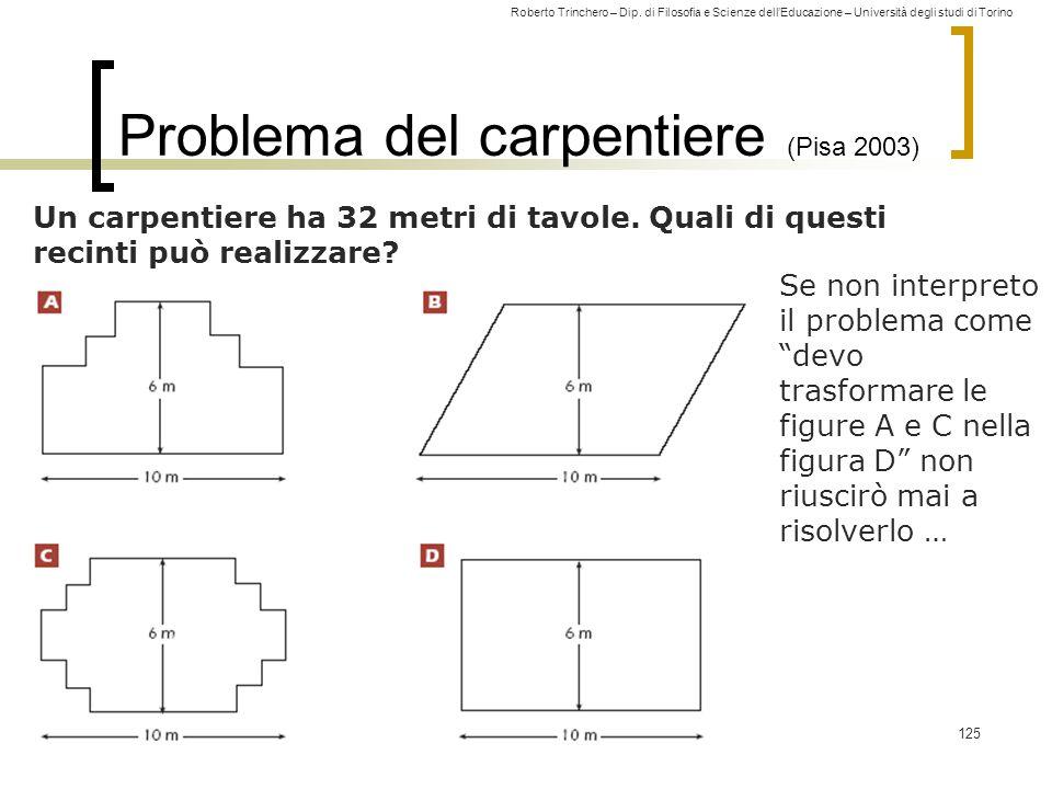 Roberto Trinchero – Dip. di Filosofia e Scienze dell'Educazione – Università degli studi di Torino 125 Problema del carpentiere (Pisa 2003) Un carpent