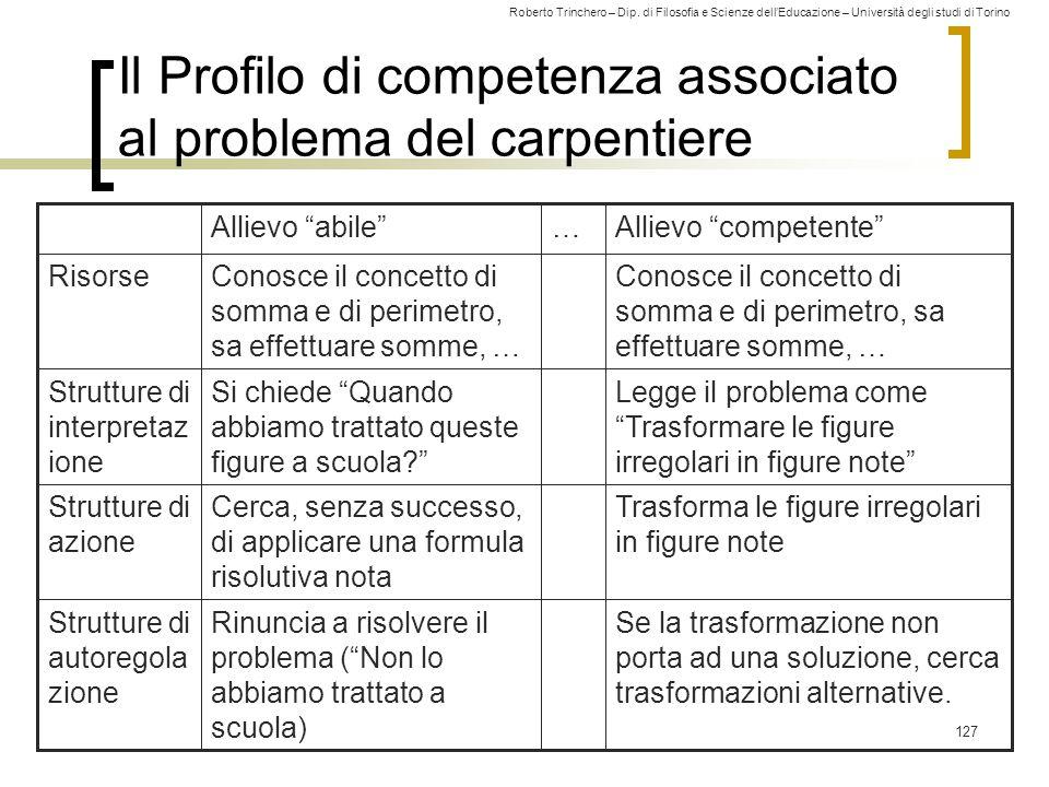 Roberto Trinchero – Dip. di Filosofia e Scienze dell'Educazione – Università degli studi di Torino 127 Il Profilo di competenza associato al problema