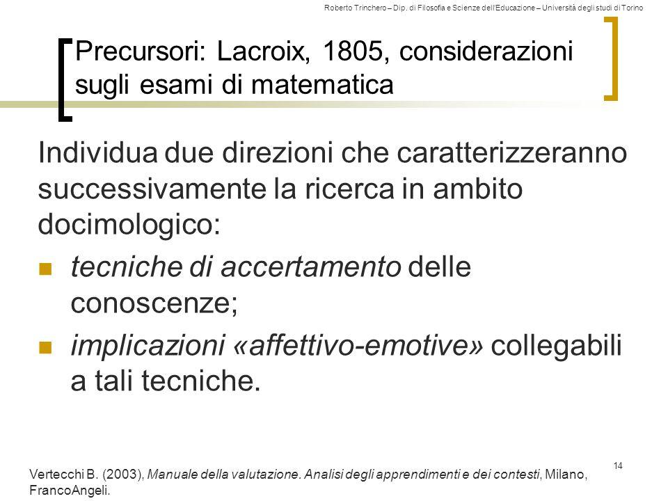 Roberto Trinchero – Dip. di Filosofia e Scienze dell'Educazione – Università degli studi di Torino Precursori: Lacroix, 1805, considerazioni sugli esa