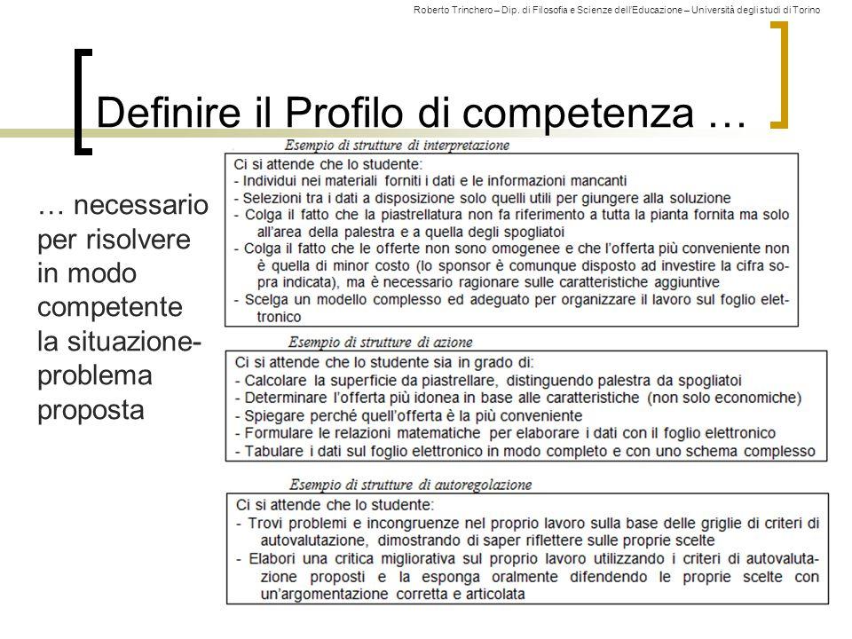 Roberto Trinchero – Dip. di Filosofia e Scienze dell'Educazione – Università degli studi di Torino Definire il Profilo di competenza … 140 … necessari