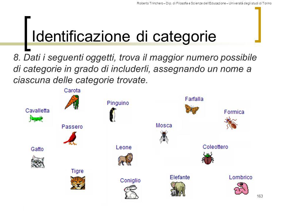 Roberto Trinchero – Dip. di Filosofia e Scienze dell'Educazione – Università degli studi di Torino Identificazione di categorie 8. Dati i seguenti ogg