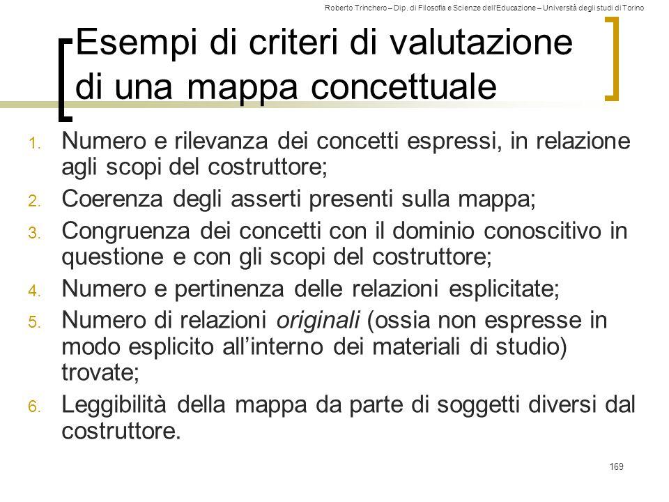 Roberto Trinchero – Dip. di Filosofia e Scienze dell'Educazione – Università degli studi di Torino 169 Esempi di criteri di valutazione di una mappa c