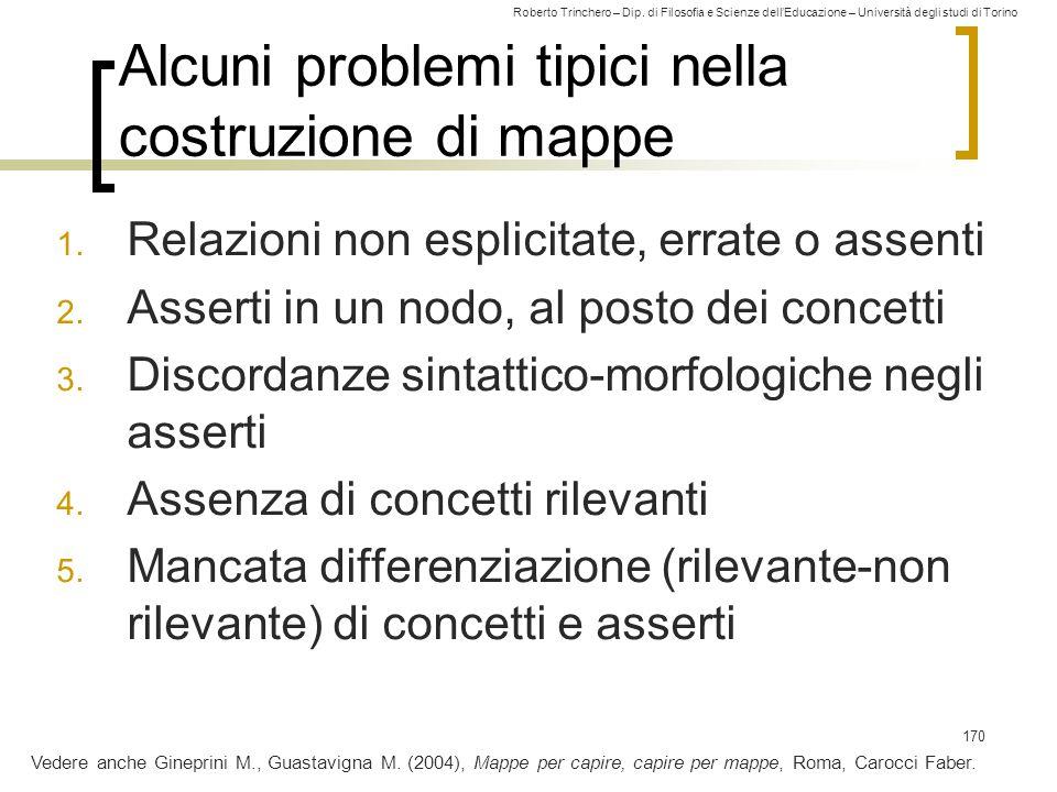 Roberto Trinchero – Dip. di Filosofia e Scienze dell'Educazione – Università degli studi di Torino 170 Alcuni problemi tipici nella costruzione di map