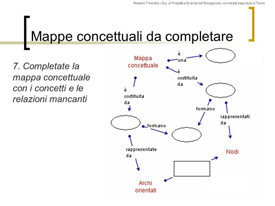 Roberto Trinchero – Dip. di Filosofia e Scienze dell'Educazione – Università degli studi di Torino Mappe concettuali da completare 7. Completate la ma