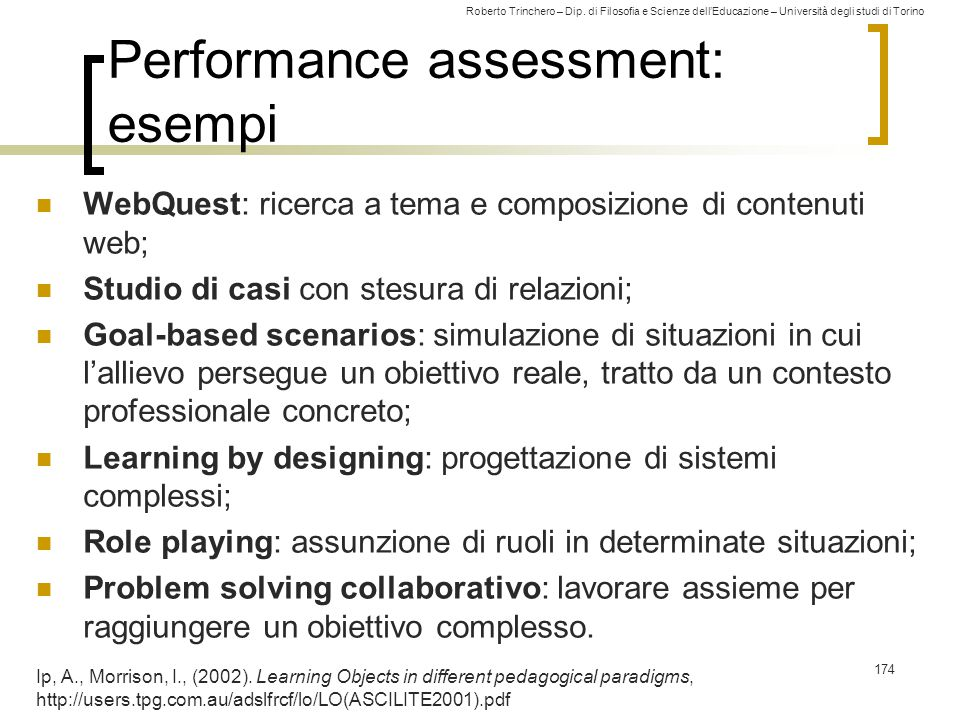 Roberto Trinchero – Dip. di Filosofia e Scienze dell'Educazione – Università degli studi di Torino 174 Performance assessment: esempi WebQuest: ricerc