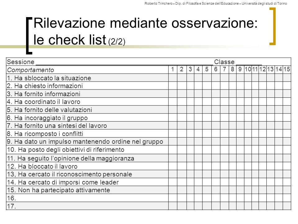Roberto Trinchero – Dip. di Filosofia e Scienze dell'Educazione – Università degli studi di Torino Rilevazione mediante osservazione: le check list (2