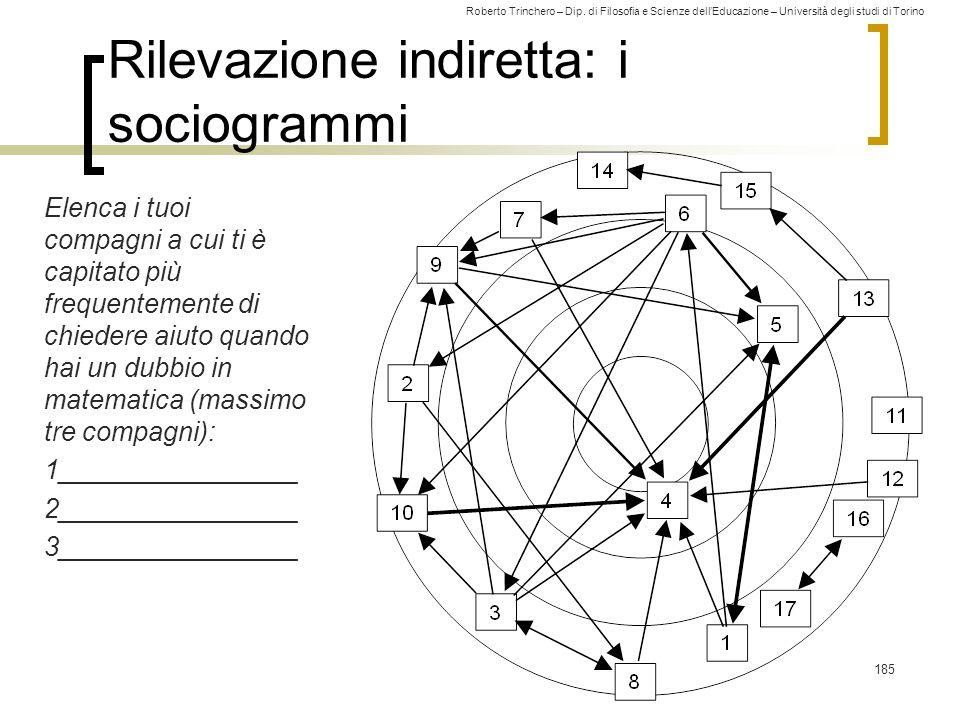 Roberto Trinchero – Dip. di Filosofia e Scienze dell'Educazione – Università degli studi di Torino Rilevazione indiretta: i sociogrammi Elenca i tuoi