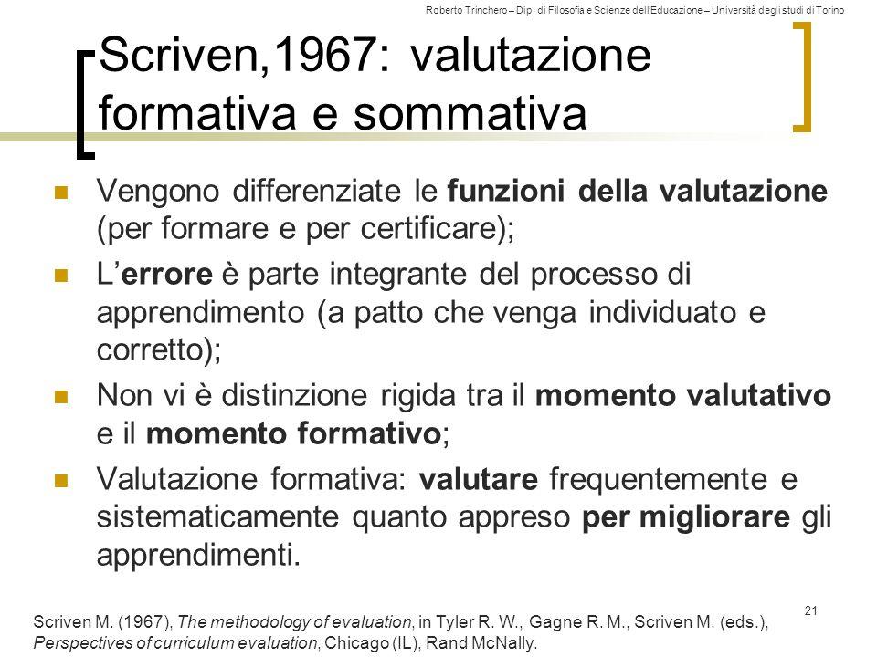 Roberto Trinchero – Dip. di Filosofia e Scienze dell'Educazione – Università degli studi di Torino Scriven,1967: valutazione formativa e sommativa Ven