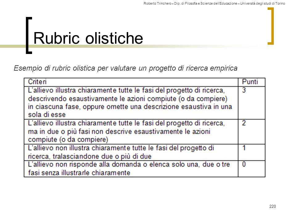 Roberto Trinchero – Dip. di Filosofia e Scienze dell'Educazione – Università degli studi di Torino 220 Rubric olistiche Esempio di rubric olistica per