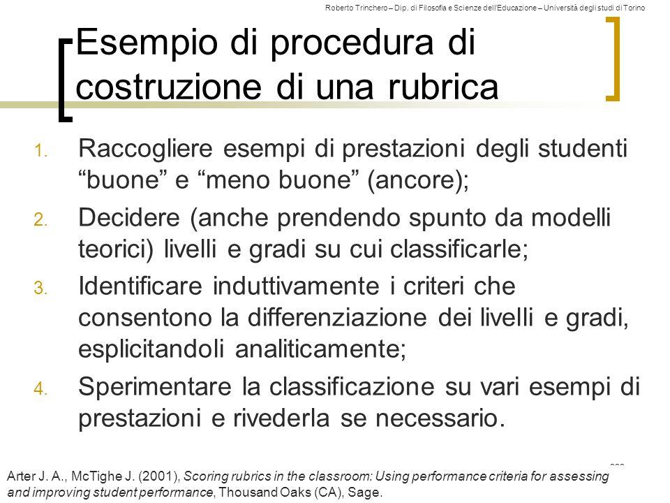 Roberto Trinchero – Dip. di Filosofia e Scienze dell'Educazione – Università degli studi di Torino 222 Esempio di procedura di costruzione di una rubr