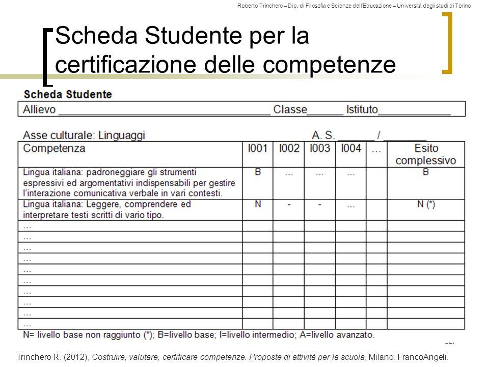 Roberto Trinchero – Dip. di Filosofia e Scienze dell'Educazione – Università degli studi di Torino 227 Scheda Studente per la certificazione delle com